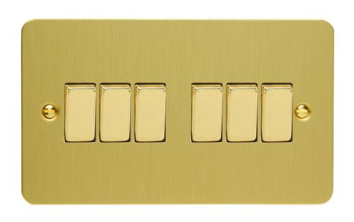 Varilight XFB96D Ultraflat Brushed Brass 6 Gang 10A 1 or 2 Way Rocker Light Switch